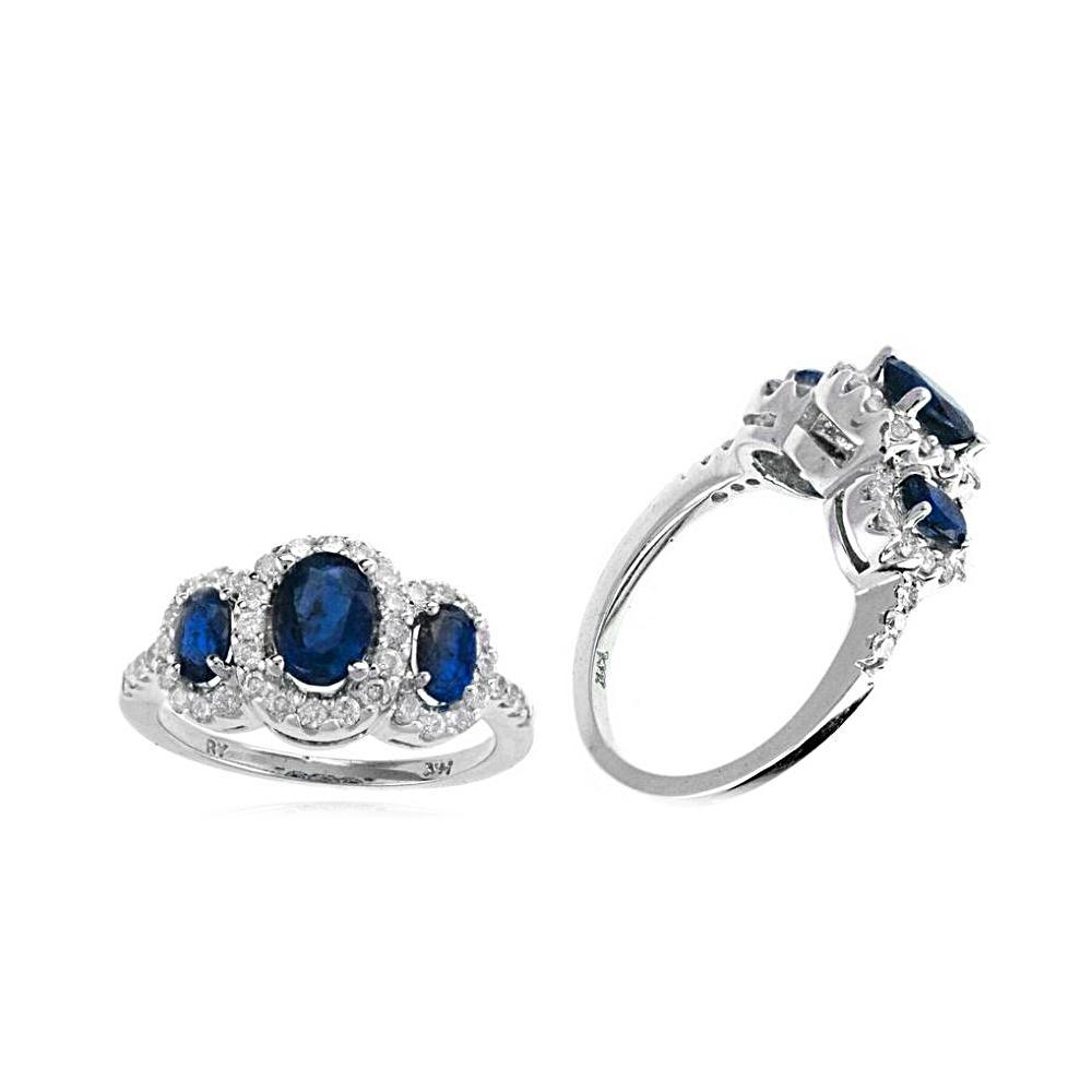 Ryan Gems 14 Karat White Gold Three Across Sapphire and Diamond Ring