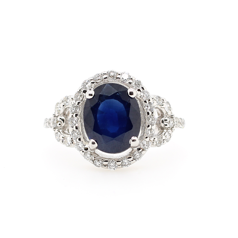 Ryan Gems 14 Karat White Gold Sapphire and Diamond Ring