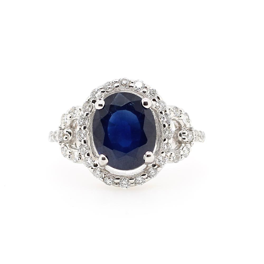 Ryan Gems 14 Karat White Gold Sapphire and Diamond Ring