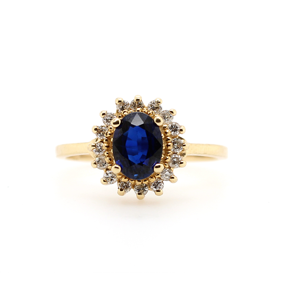 Ryan Gems 14 Karat Yellow Gold Sapphire and Diamond Ring