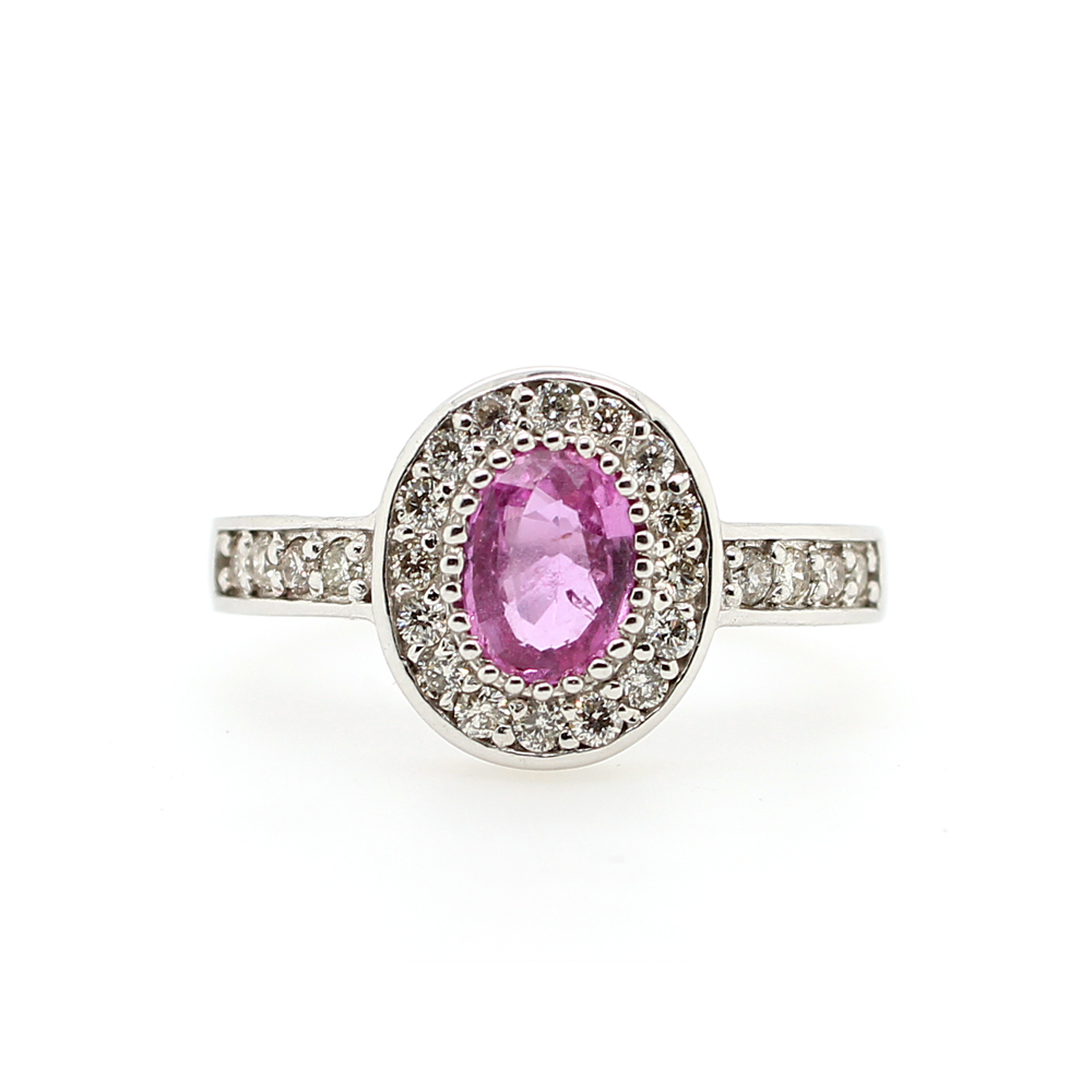 Ryan Gems 14 Karat White Gold Pink Sapphire and Diamond Ring