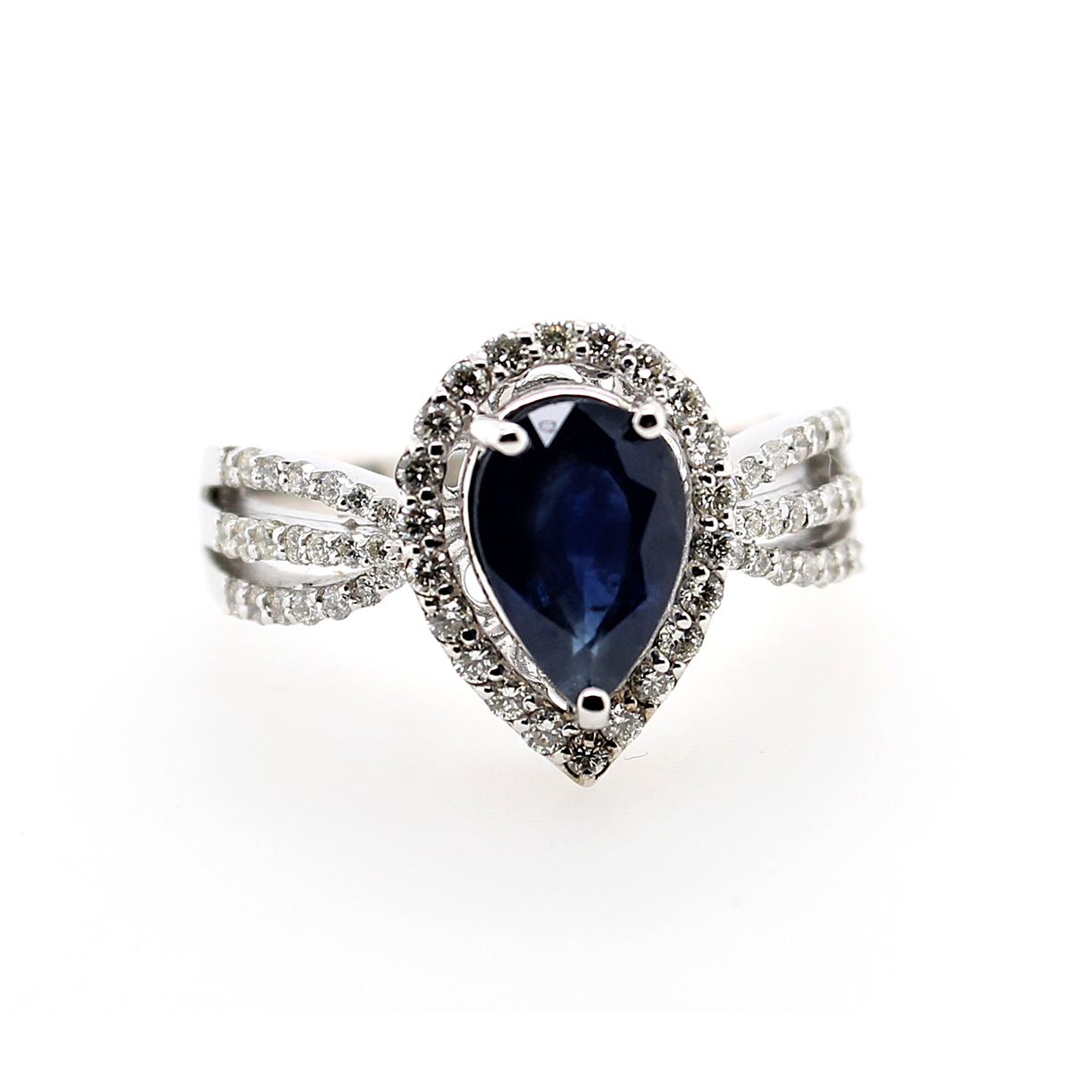 14 Karat White Gold Pear Shaped Blue Sapphire and Diamond Ring
