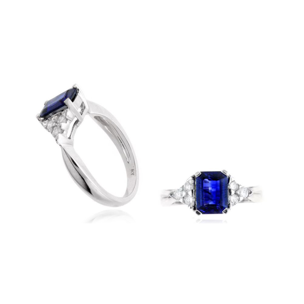 14 Karat White Gold Blue Sapphire and Diamond Ring