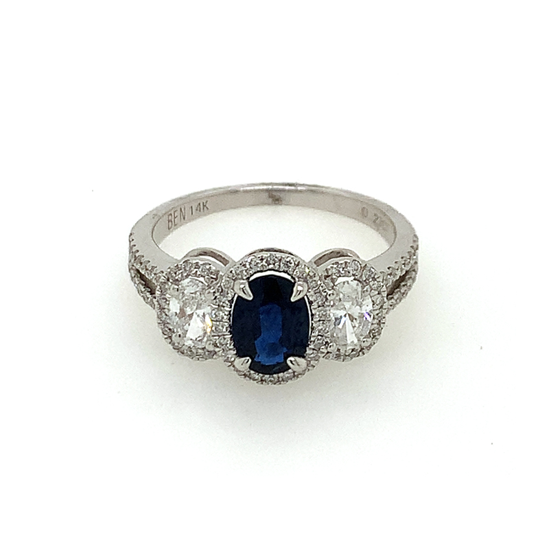 14 Karat White Gold 3-Across Oval Sapphire and Diamond Ring