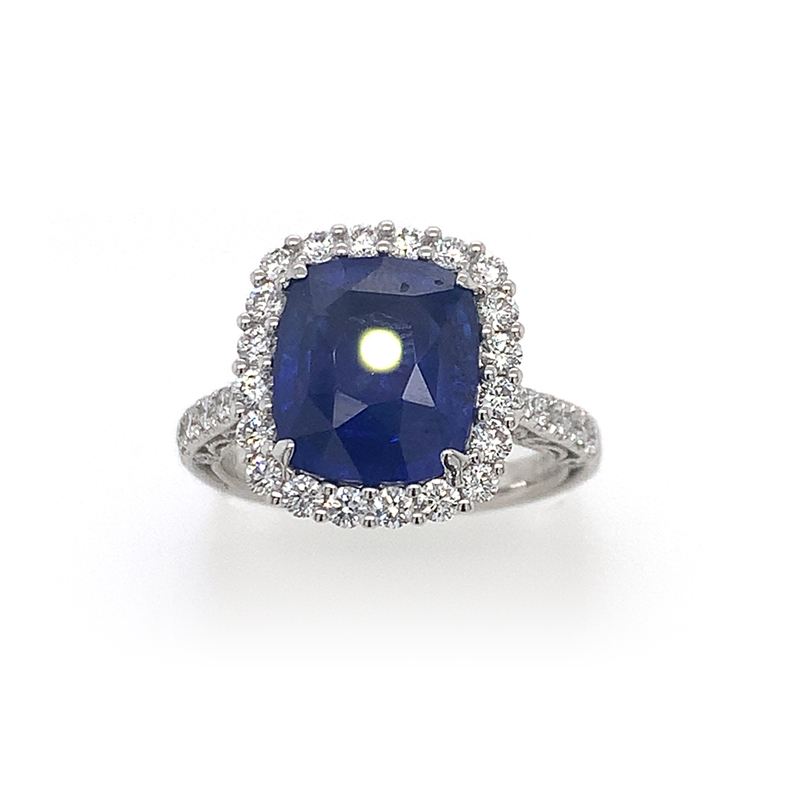 18 Karat White Gold GIA Certified Cushion Cut Blue Sapphire and Diamond Ring