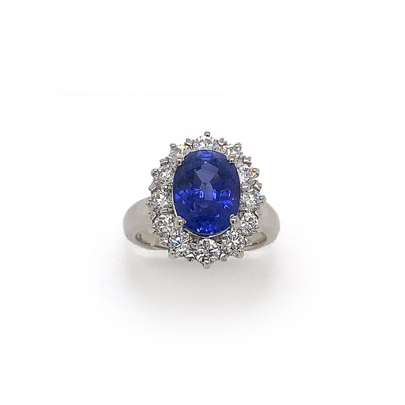 18 Karat White Gold Oval Blue Sapphire and Diamond Ring