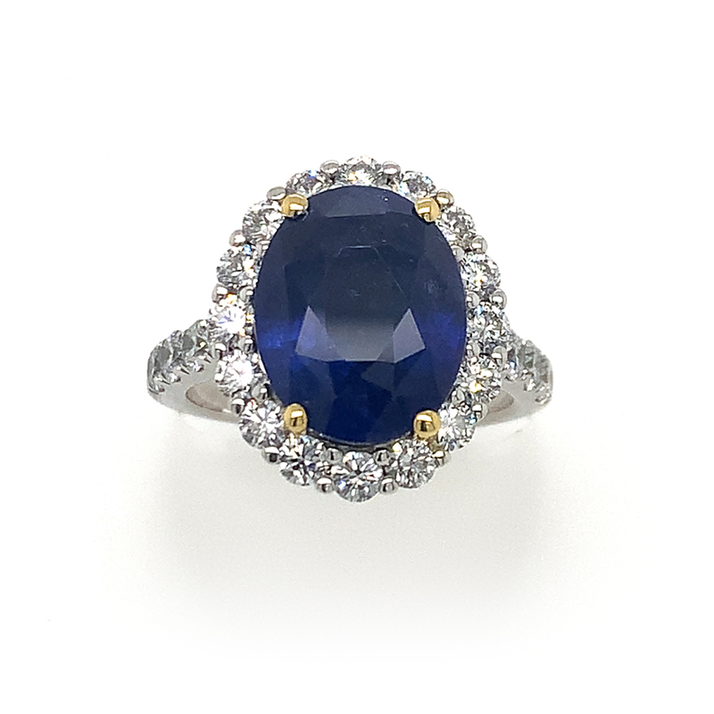 18 Karat White Gold Gia Certified Oval Blue Sapphire and Diamond Ring