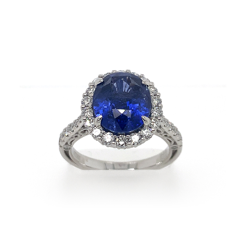 Platinum GIA Certified Oval Blue Sapphire and Diamond Ring