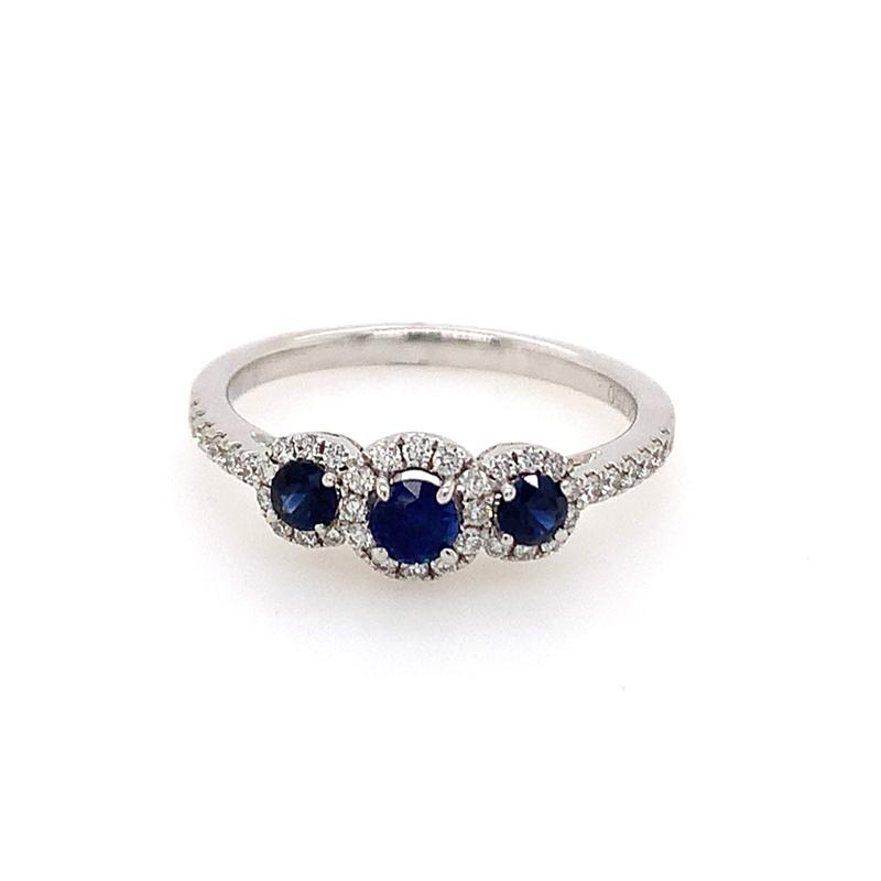 18 Karat White Gold 3-Across Sapphire and Diamond Ring