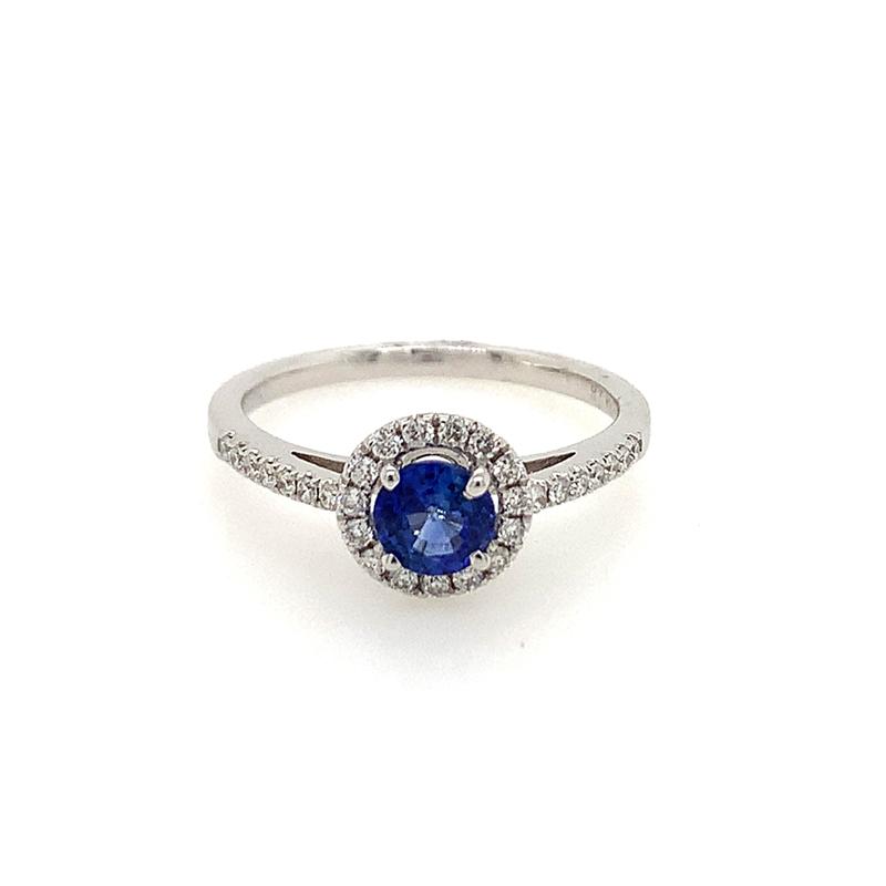18 Karat White Gold Round Sapphire and Diamond Ring