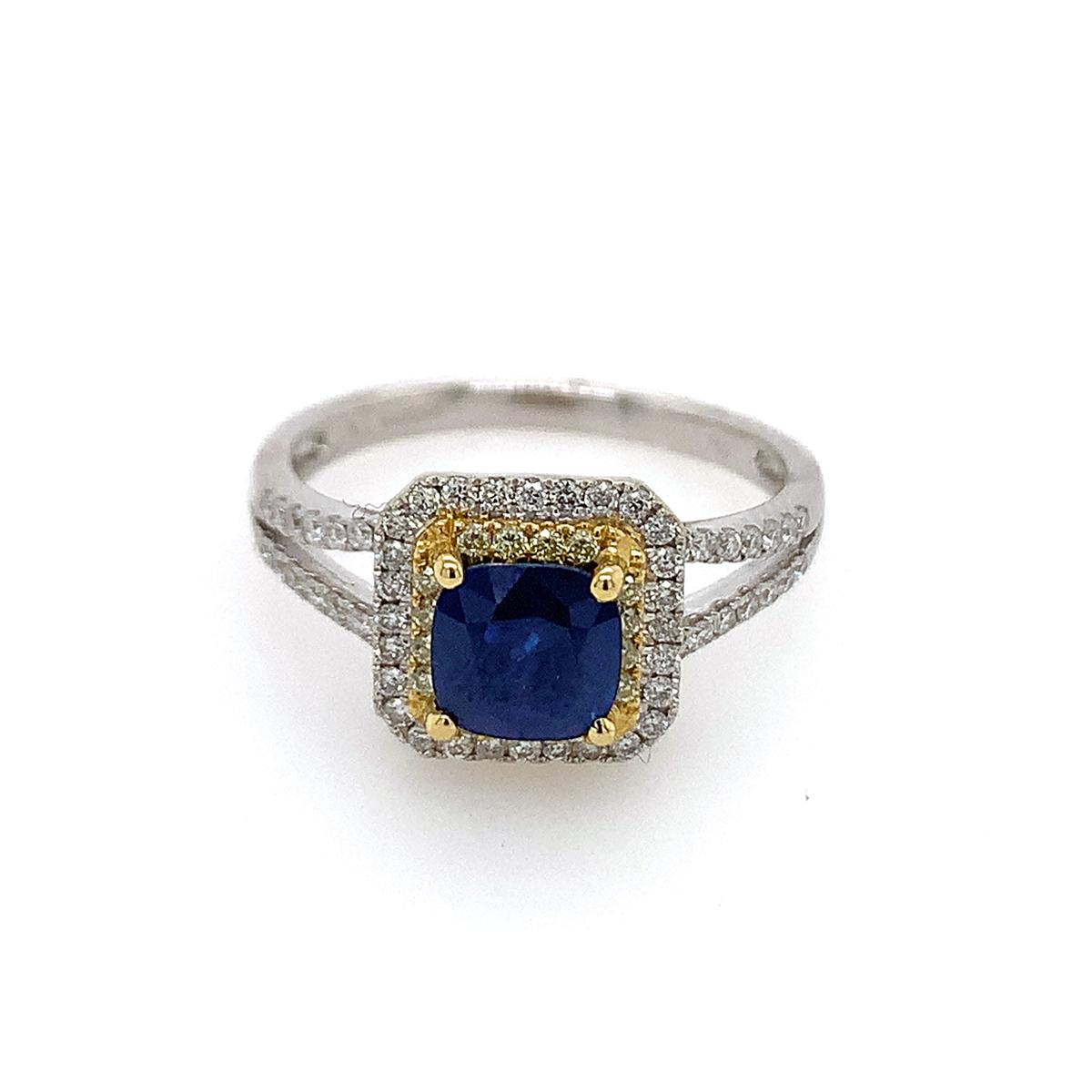 18 Karat White Gold Sapphire, Natural Fancy Yellow and White Diamond Ring