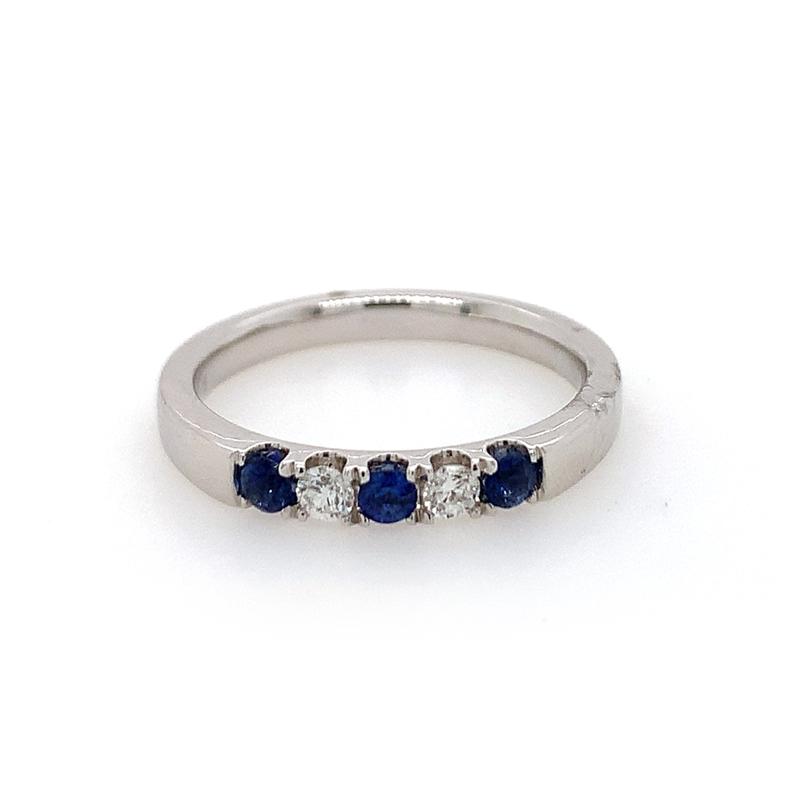 14 Karat White Gold Blue Sapphire and Diamond Shared Prong Band