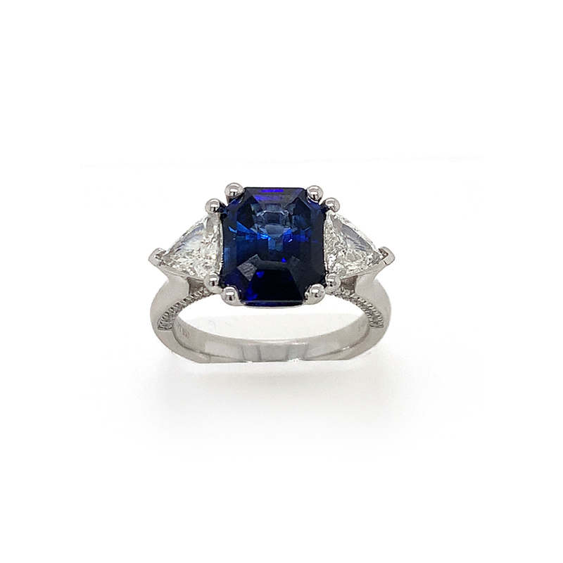 Platinum GIA Certified Blue Sapphire and Diamond ring