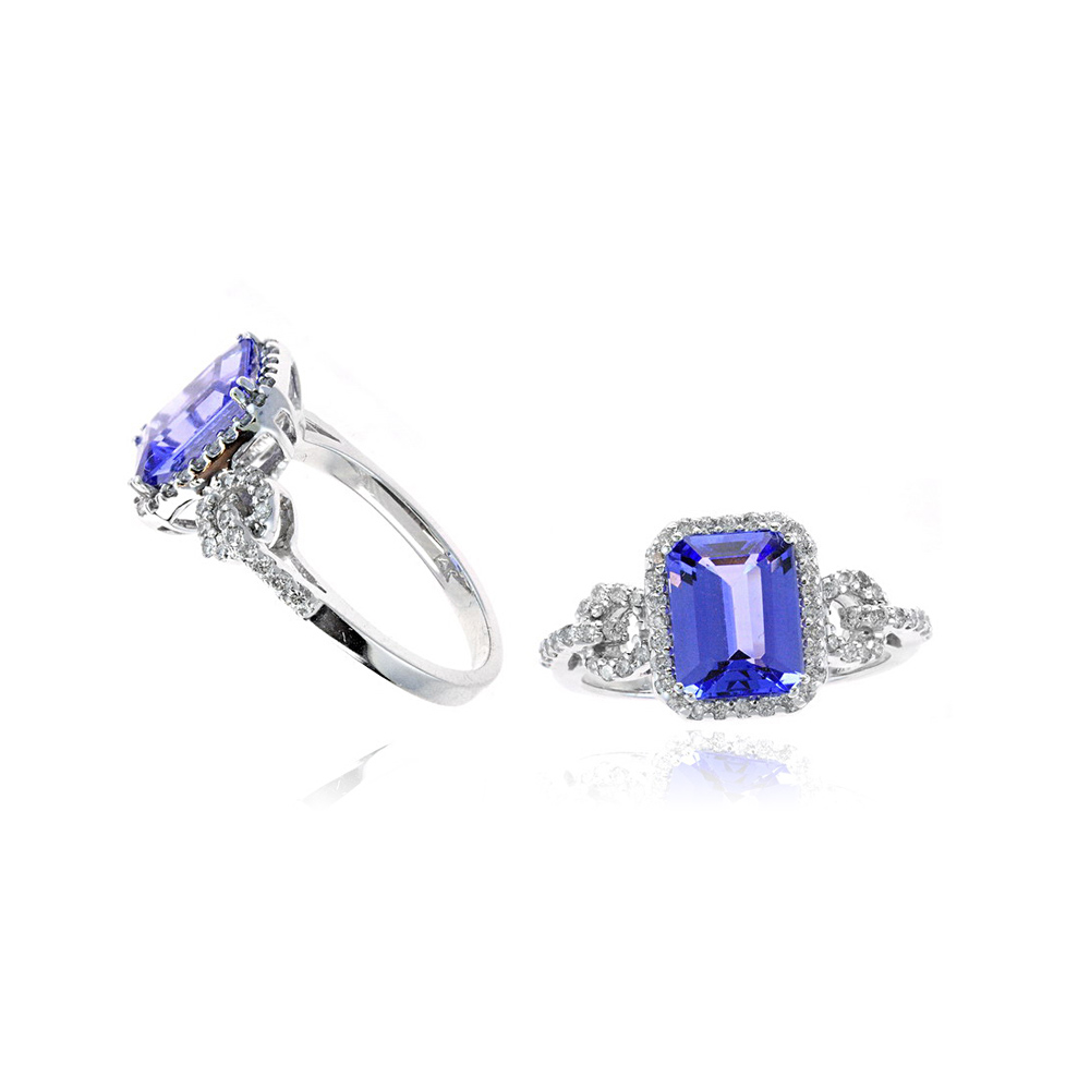 Ryan Gems 14 Karat White Gold Tanzanite and Diamond Ring
