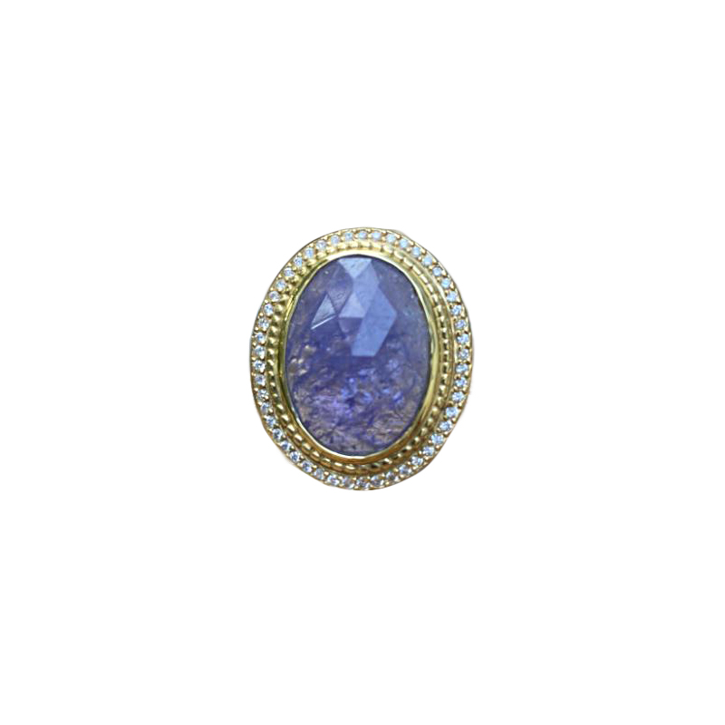 Lauren K 18 Karat Yellow Gold Oval Tanzanite and Diamond Ring
