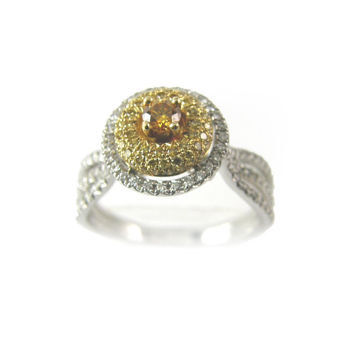 18 Karat Two Tone White Yellow and Cognac Diamond Ring