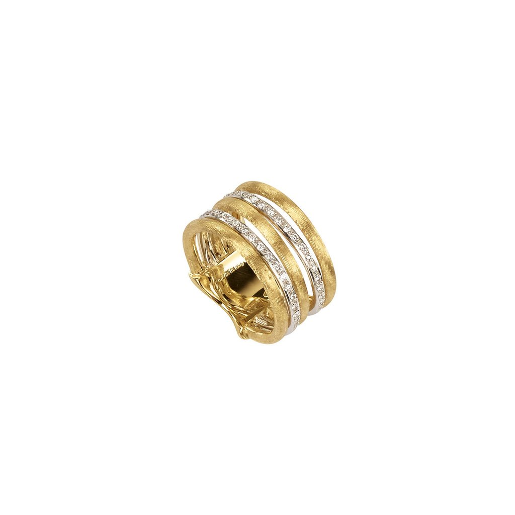 Marco Bicego 18 Karat Two Tone Textured and Diamond Wide Band