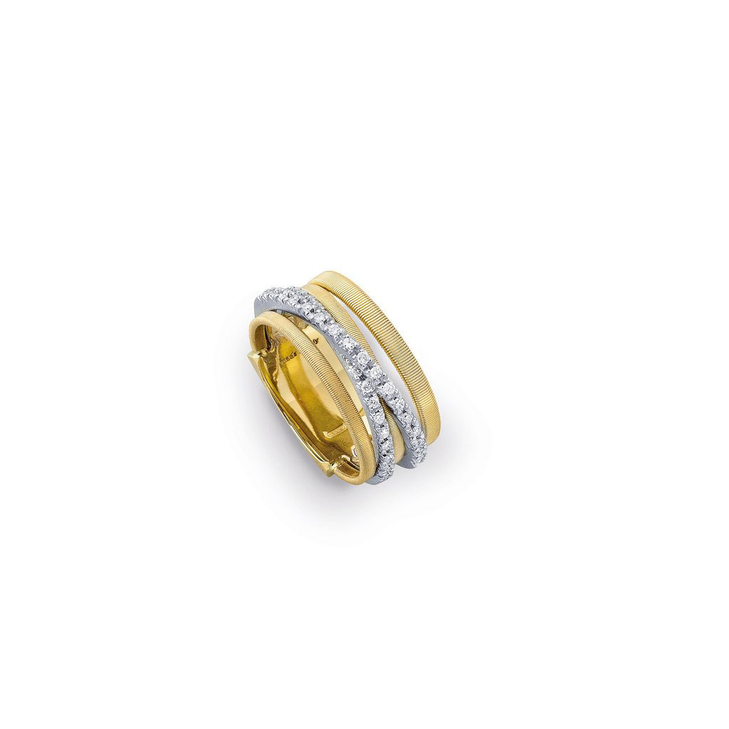 Marco Bicego 18 Karat Yellow Gold Five Strand Diamond Band