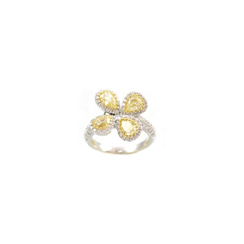 18 Karat Yellow Gold Pear Shaped Yellow Sapphire and Diamond Ring