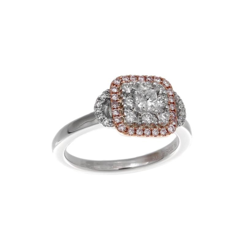Gregg Ruth 18 Karat white gold, pink and white diamond ring.