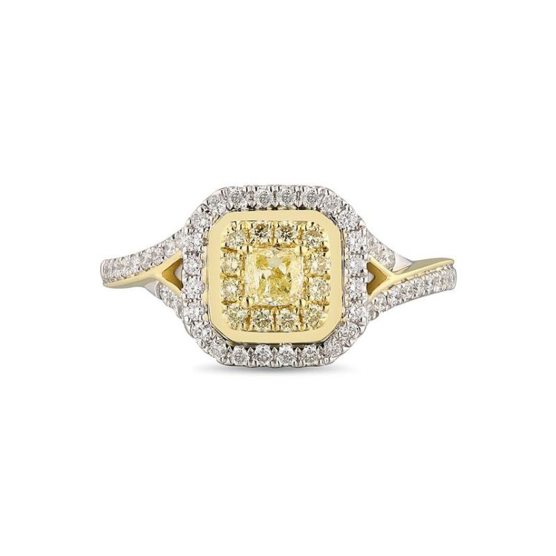 Gregg Ruth 18 Karat white gold, natural yellow and white diamond ring.