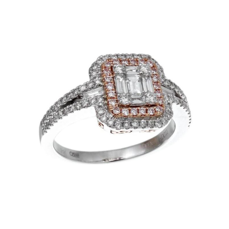 Gregg Ruth 18 Karat white gold, natural pink and white diamond ring.