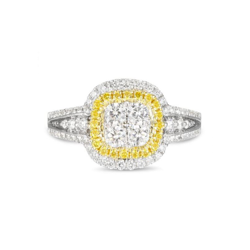 Gregg Ruth 18 Karat white gold, white and natural yellow diamond ring.