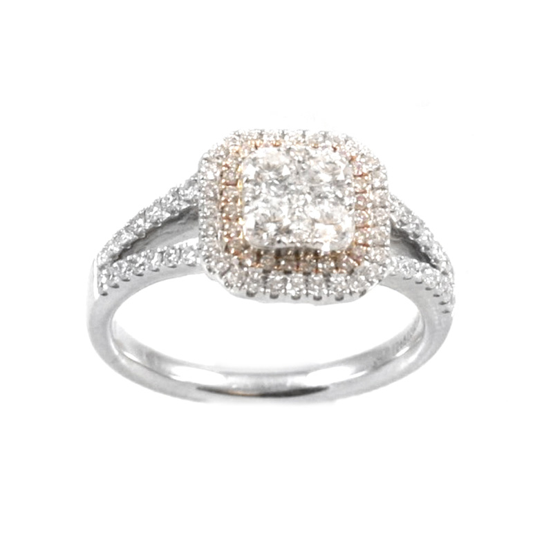 Gregg Ruth 14 Karat white gold, white and natural pink diamond ring.