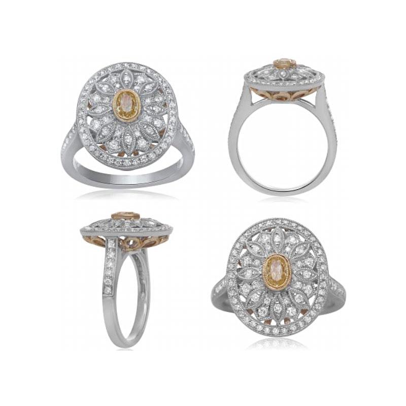 18 Karat White and Yellow Gold Fancy Yellow and White Diamond Ring
