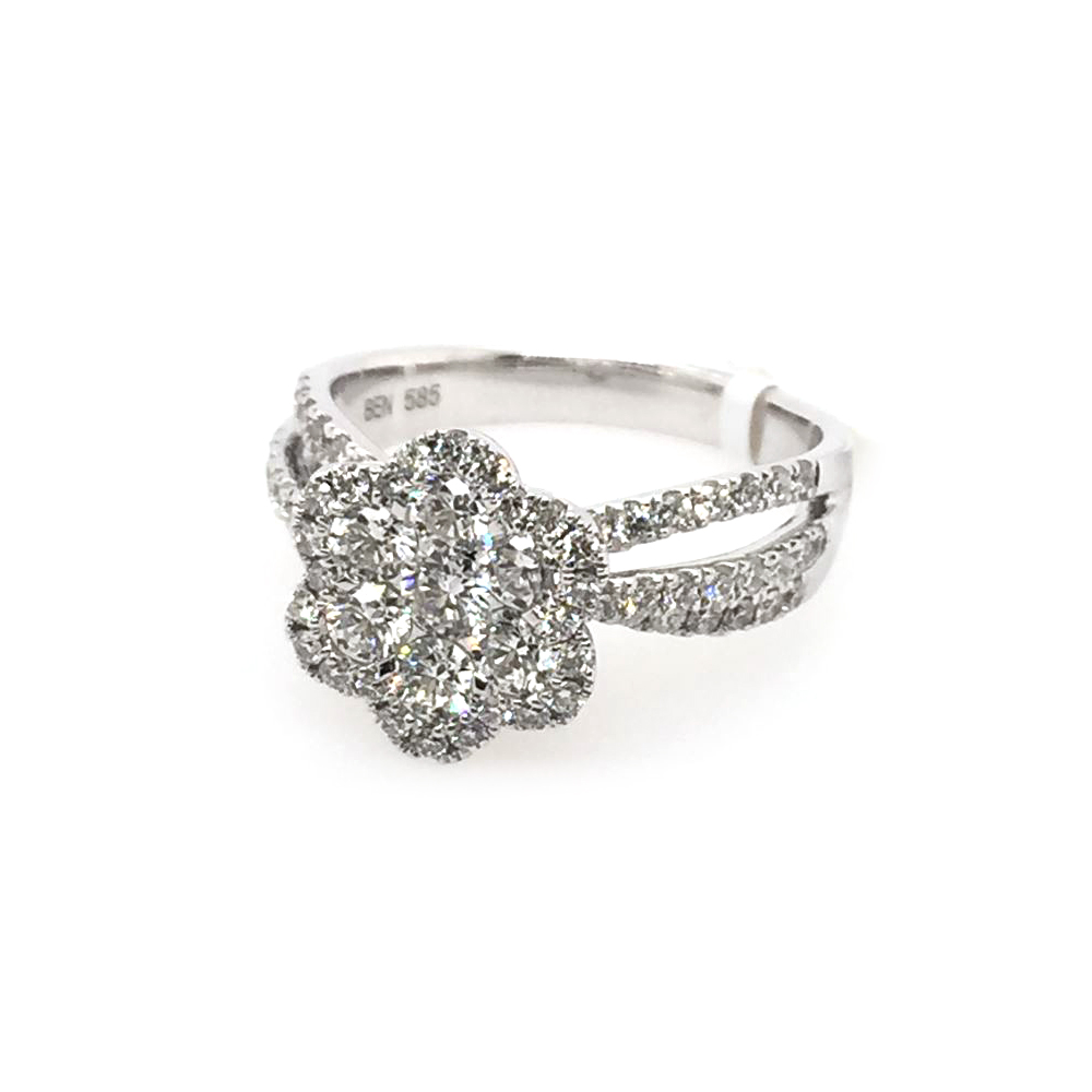 14 Karat White Gold Diamond Cluster Ring