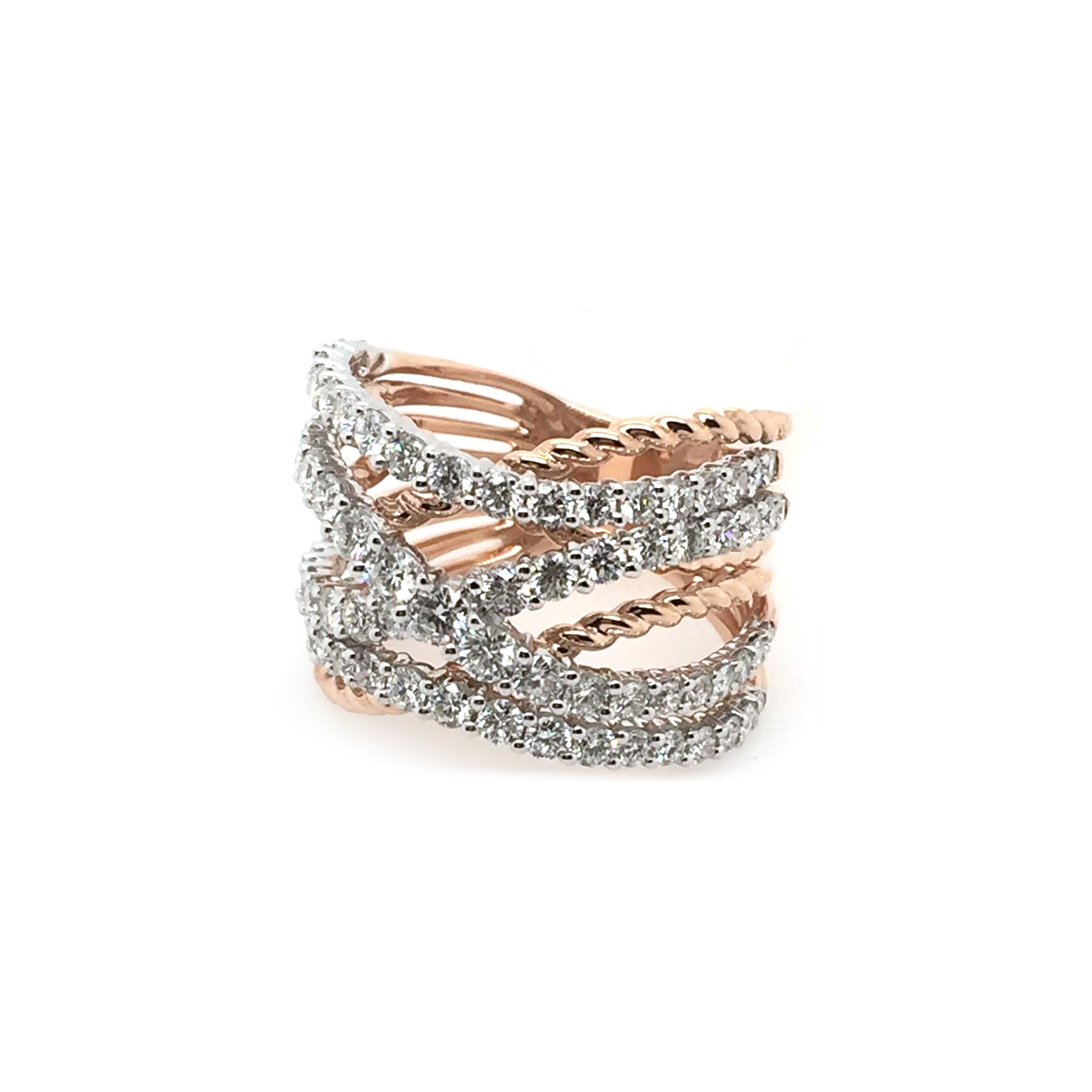 14 Karat Rose Gold Diamond Crossover Ring