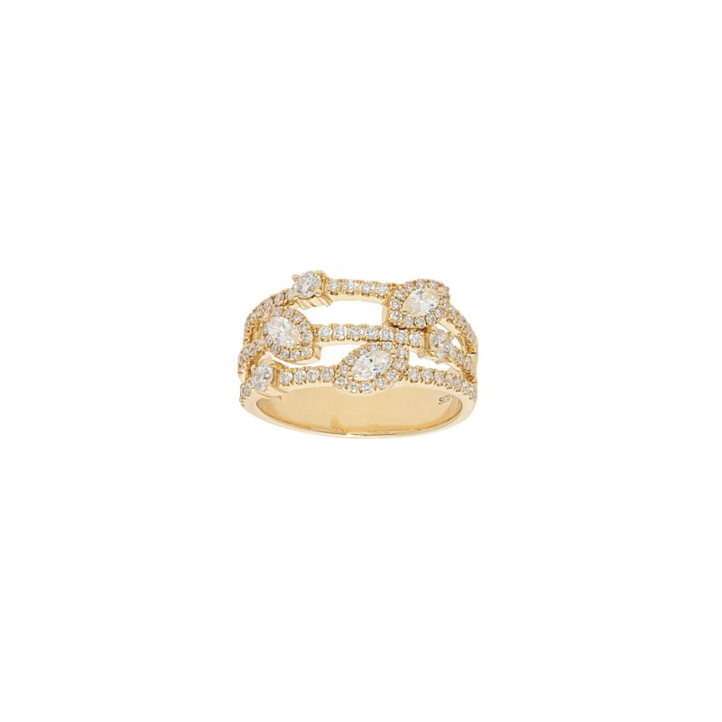 Beny Sofer 14 Karat Yellow Gold Three Row Marquise and Round Diamond Ring
