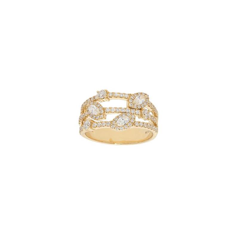 Beny Sofer 14 Karat Yellow Gold Three Row Marquise and Round Diamond Ring