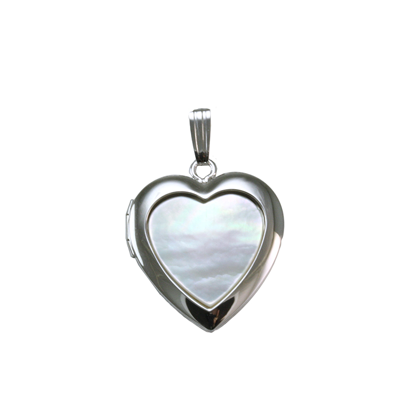 Sterling Silver Mother of Pearl Heart Shaped Locket