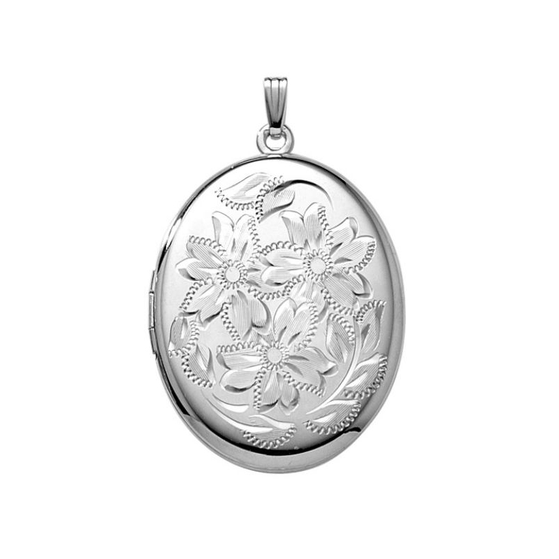 Sterling Silver Locket with Floral Design