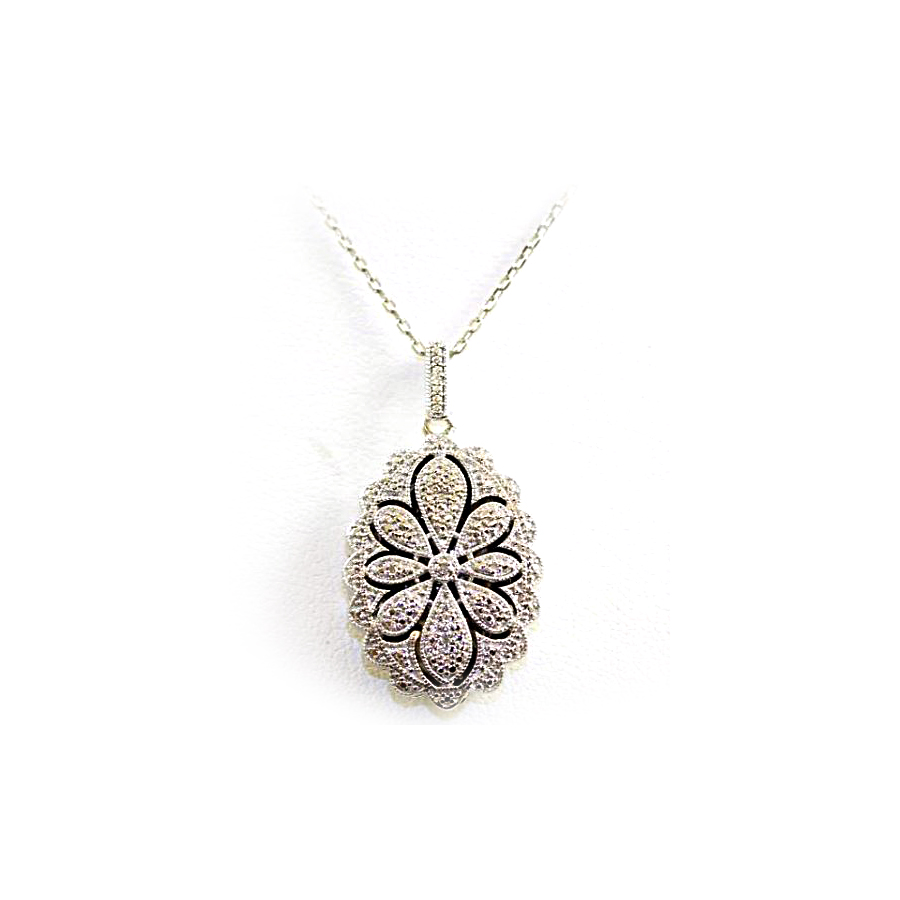 Sterling Silver Filigree Diamond Locket Pendant Necklace
