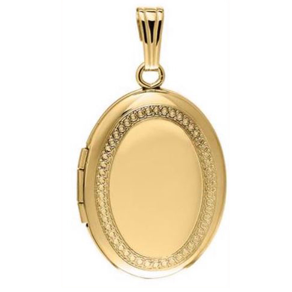 14 Karat Yellow Gold Etched Oval Locket Necklace