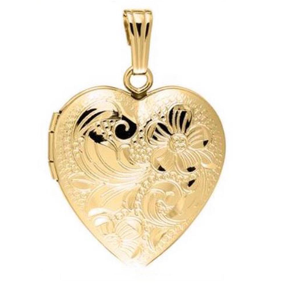 14 Karat Yellow Gold Engraved Heart Locket Necklace