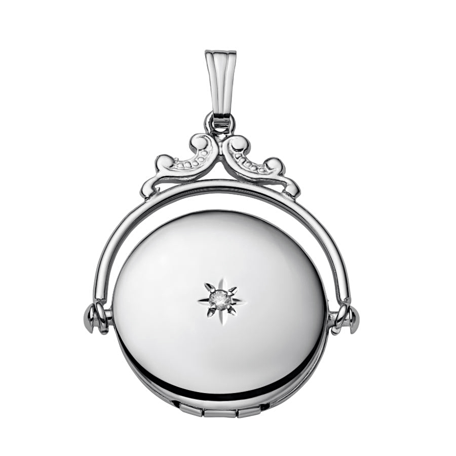 Sterling Silver One Diamond Spinning Locket