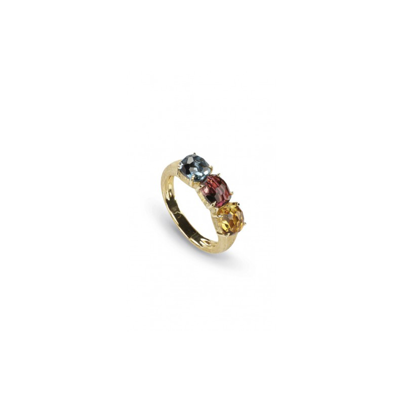 Marco Bicego 18 Karat Yellow Gold Murano Yellow Quartz, Blue Topaz, and Pink Tourmaline Ring