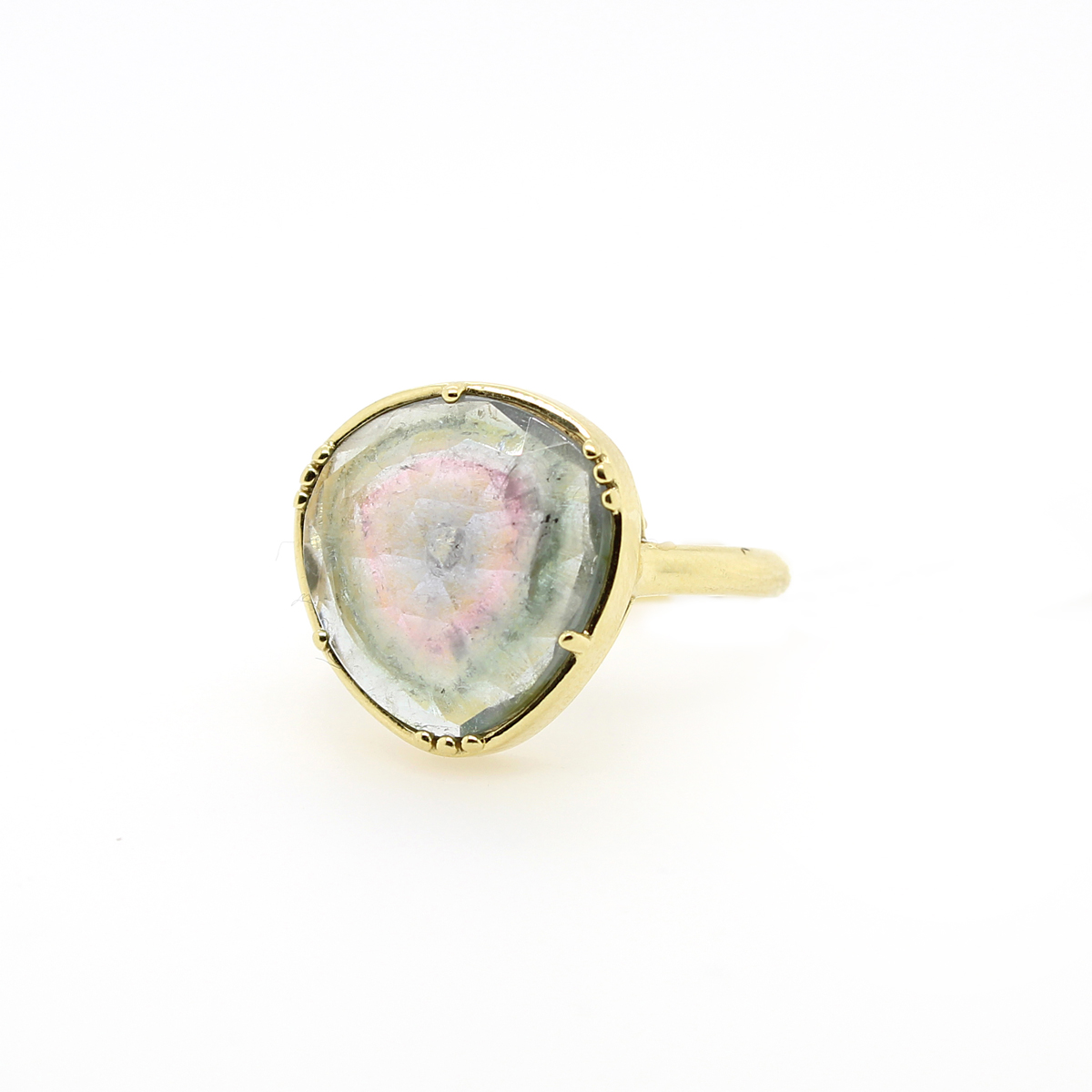 Lauren K 18 Karat Yellow Gold Freeform Watermelon Tourmaline Hope Ring