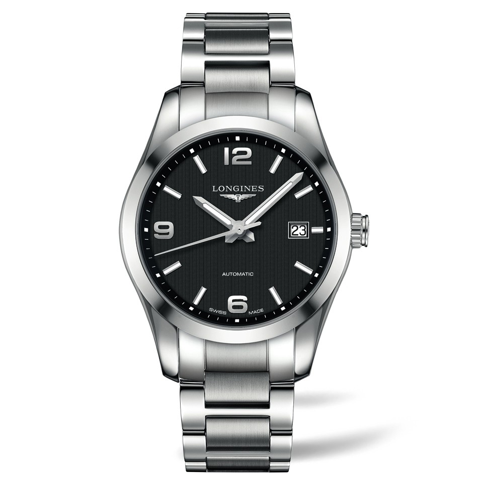 7682f035f5b Longines Conquest Automatic Black Dial Stainless Steel Mens Watch -  LONG00091