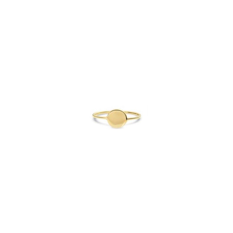 14 Karat yellow gold small disc wire ring.