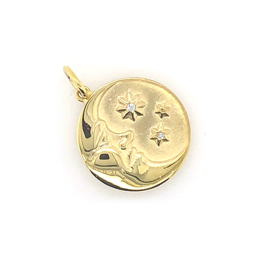 Mazza 14 Karat Yellow Gold Man on the Moon Pendant