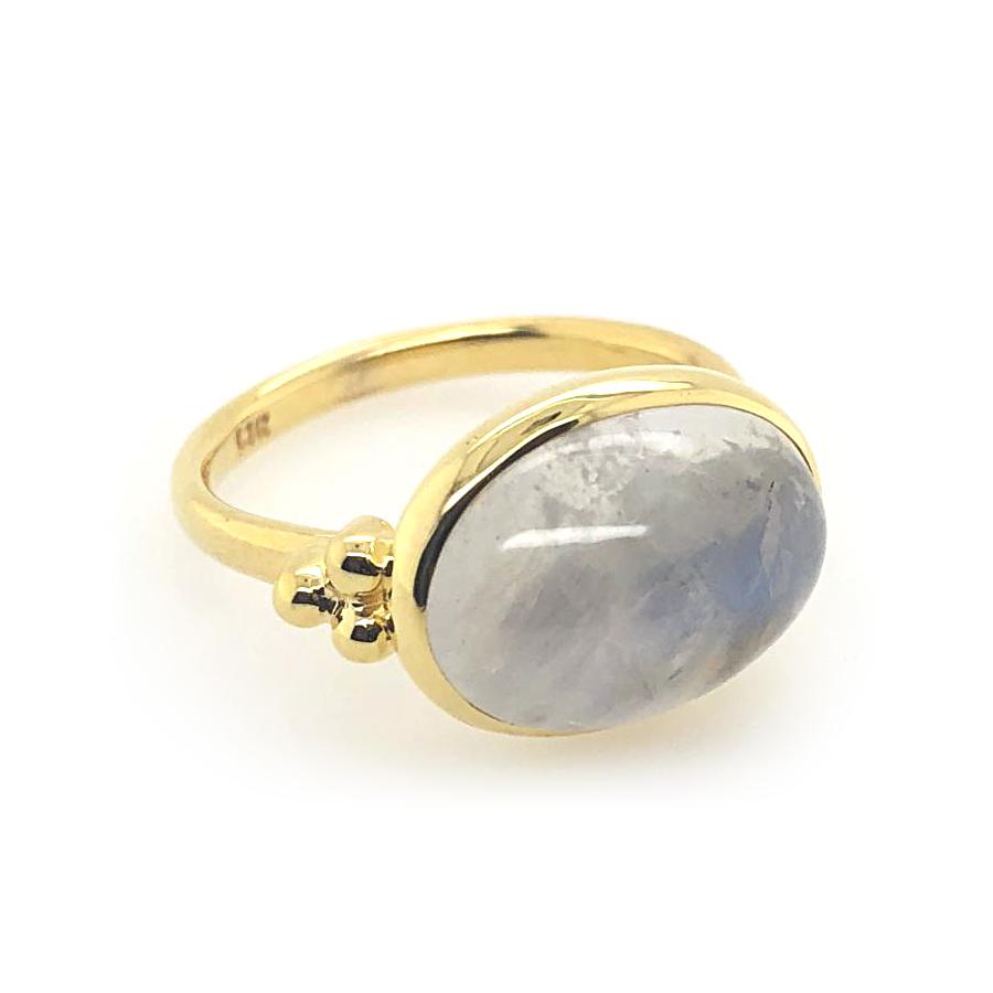 Mazza 14 Karat Yellow Gold Moonstone Capri Ring