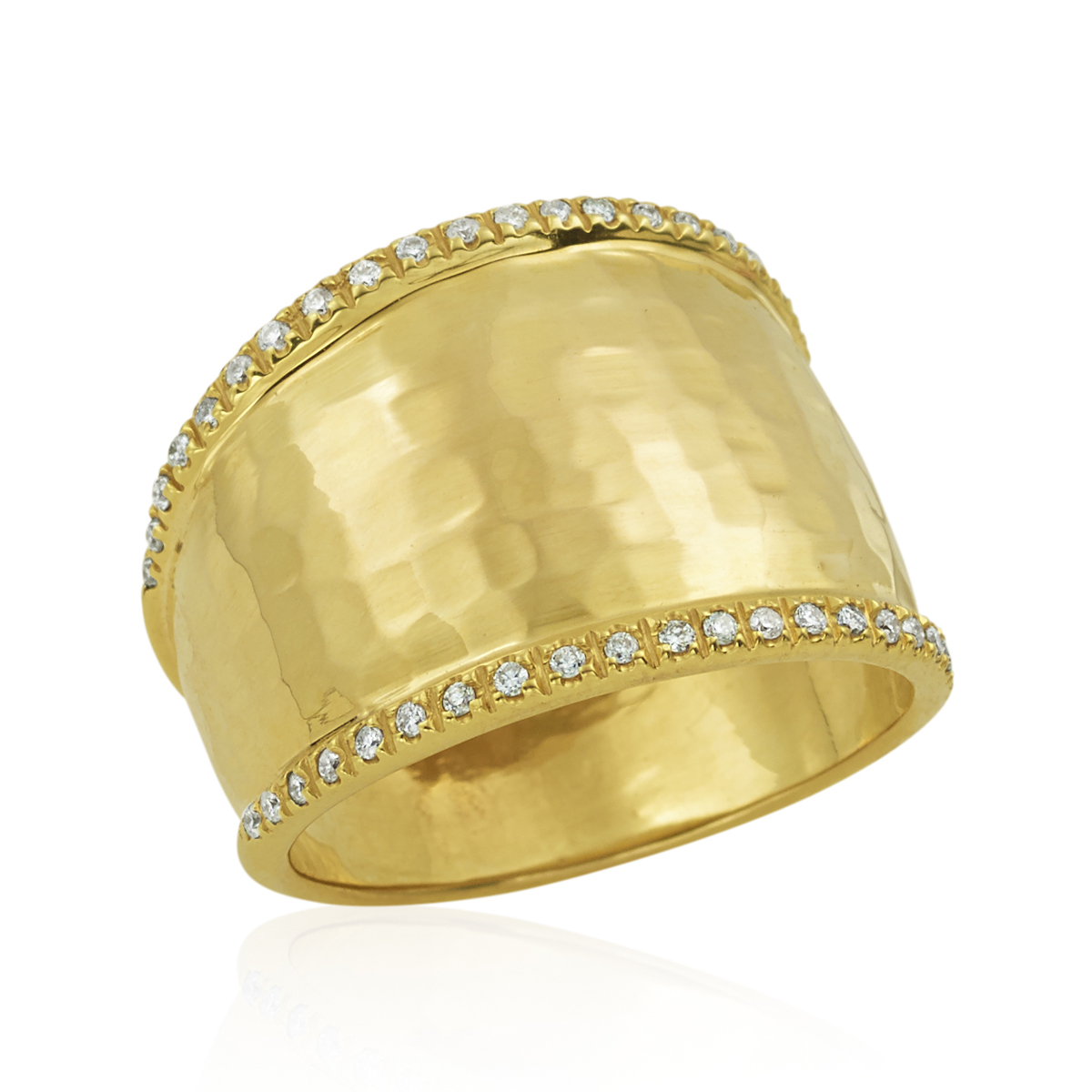 14 Karat Yellow Gold Diamond Hammered Ring