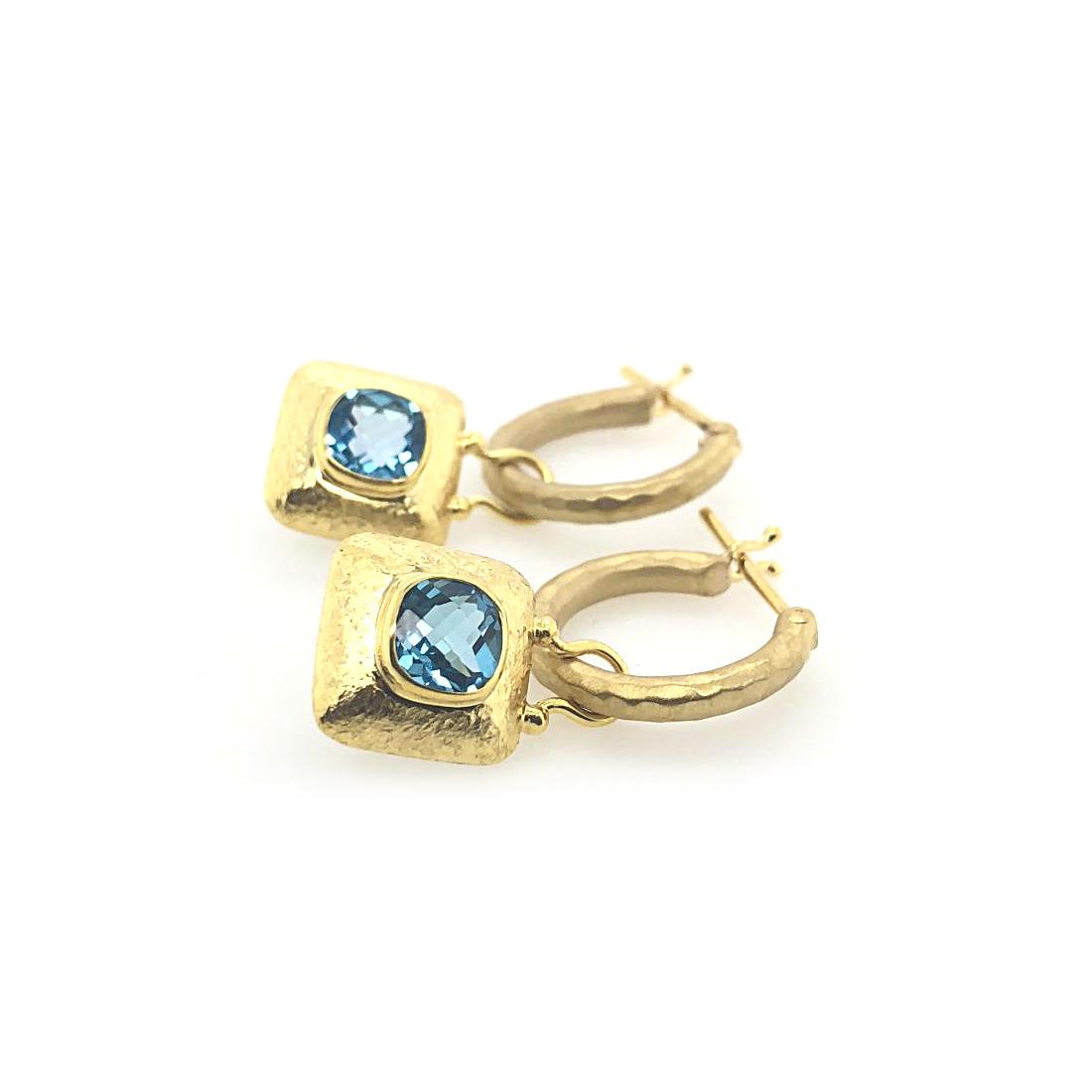 Mazza 14 Karat Yellow Gold Square Blue Topaz Small Hoop Dangle Earrings