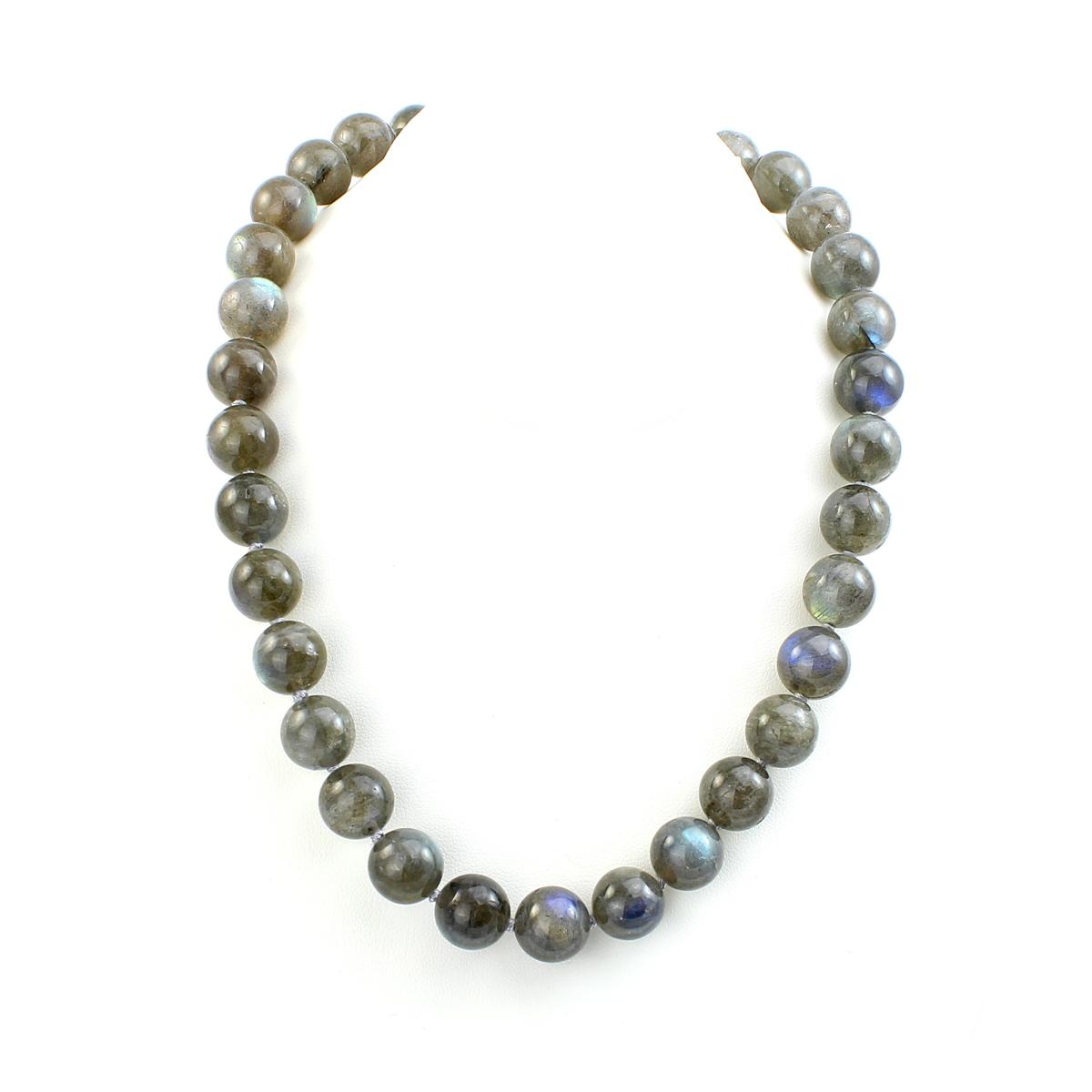 Mazza 12mm Labradorite Bead Necklace