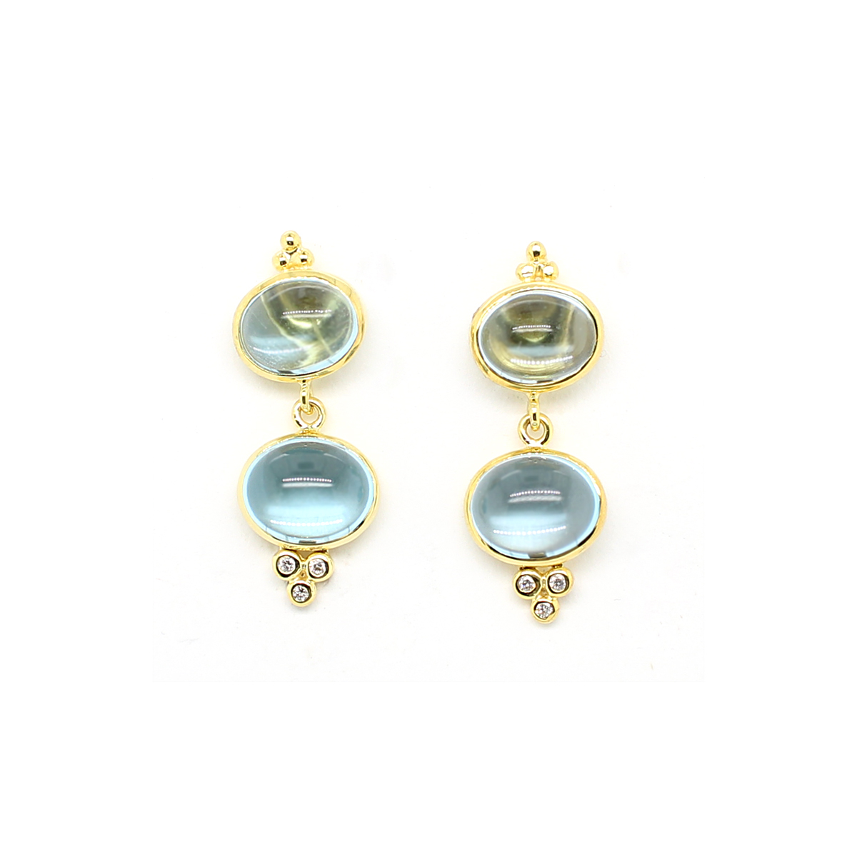Mazza 14 Karat Yellow Gold Double Cabochon Blue Topaz and Diamond Earrings