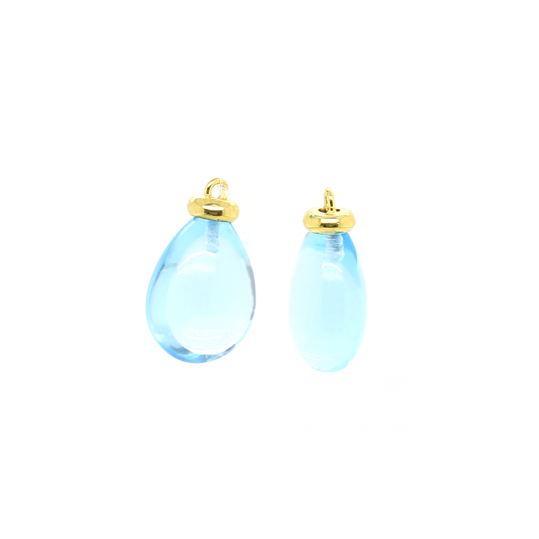 Mazza 14 Karat Yellow Gold Blue Topaz Tear Drops for Earrings